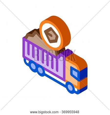 Coal Truck Icon Vector. Isometric Coal Truck Sign. Color Isolated Symbol Illustration