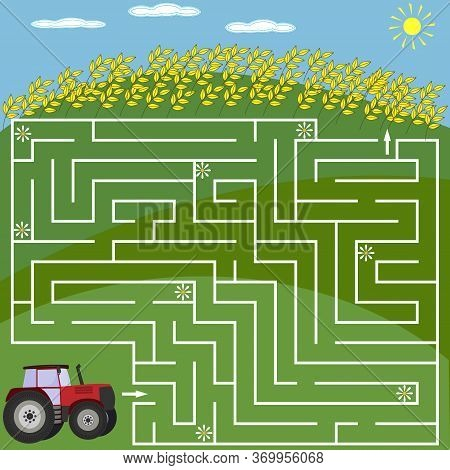 Maze Puzzle For Children On The Theme Of Nature, Tractor And Field With Wheat