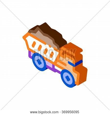Motor Lorry Icon Vector. Isometric Motor Lorry Sign. Color Isolated Symbol Illustration