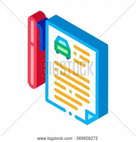 Car Purchase Agreement Icon Vector. Isometric Car Purchase Agreement Sign. Color Isolated Symbol Ill