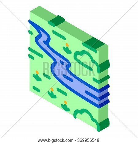 River Landscape Among Meadow Icon Vector. Isometric River Landscape Among Meadow Sign. Color Isolate
