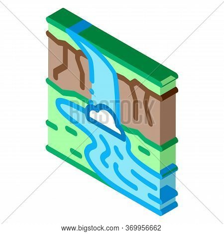 Current River With Bridge Icon Vector. Isometric Current River With Bridge Sign. Color Isolated Symb