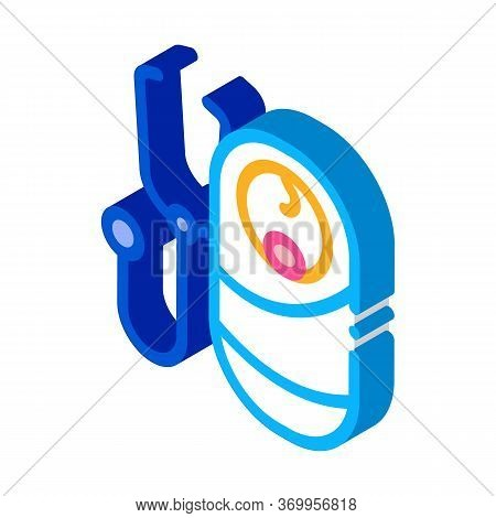 Listen To Breath Of Newborn Baby Icon Vector. Isometric Listen To Breath Of Newborn Baby Sign. Color
