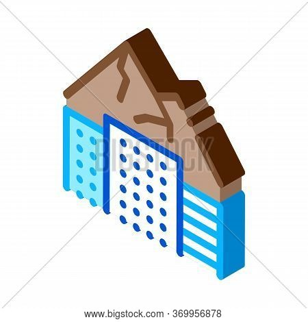High-rise Buildings Among Mountains Icon Vector. Isometric High-rise Buildings Among Mountains Sign.