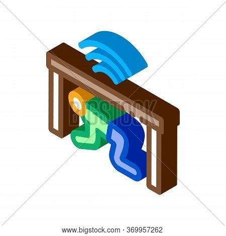 Protection Hide Human Under Table Icon Vector. Isometric Protection Hide Human Under Table Sign. Col