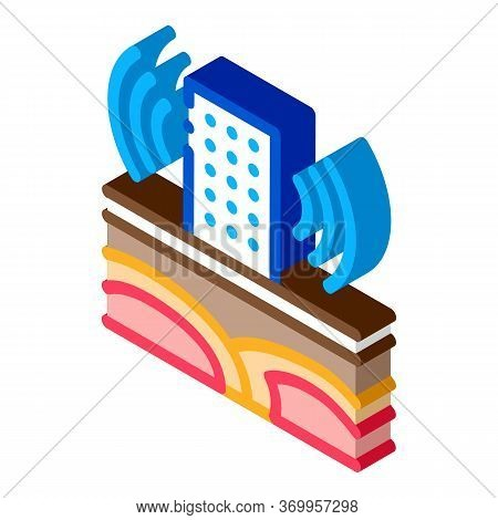 Seismic Wave High-rise Building Icon Vector. Isometric Seismic Wave High-rise Building Sign. Color I