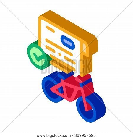 Contract For Temporary Use Of Bicycle Icon Vector. Isometric Contract For Temporary Use Of Bicycle S