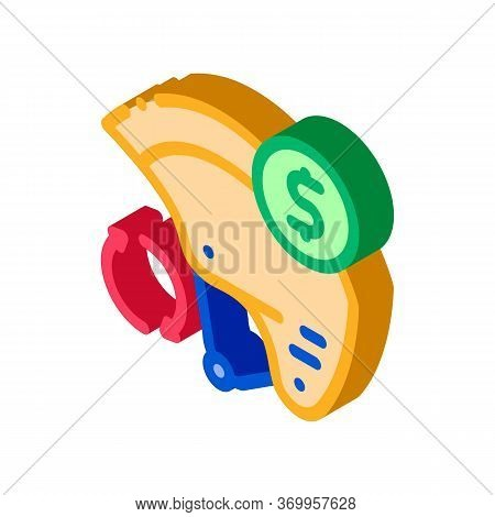 Safety Helmet Paid Service Icon Vector. Isometric Safety Helmet Paid Service Sign. Color Isolated Sy