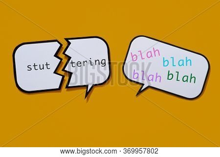 a broken speech balloon with the text stuttering written in it and a speech balloon with the words blah blah blah in different colros, on an orange background