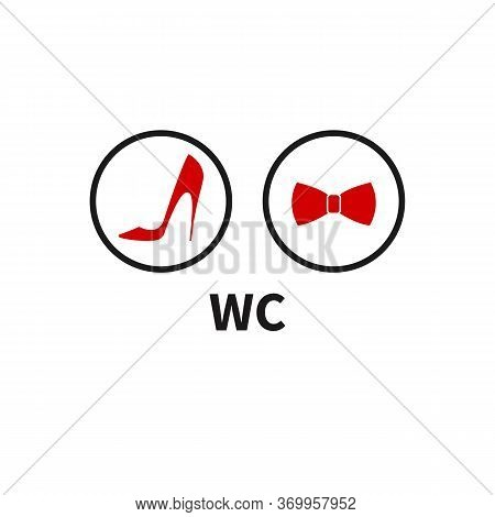 Unique Icons For Toilet, Restroom, Wc. Womens High Heeled Shoes And Mens Bow Tie. Vector Illustratio