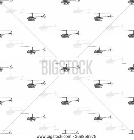 Helicopters Flying. Helicopter Pattern. Vector Themed Background. Flat Style. Seamless Pattern With