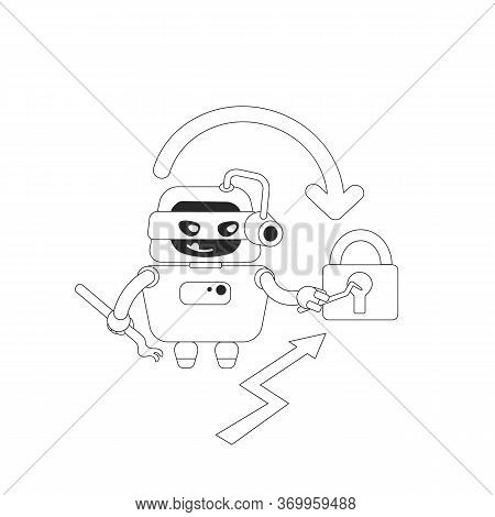 Hacker Bot Thin Line Concept Vector Illustration. Stealing Personal Account Data And Website Content