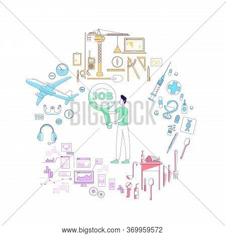 Occupational Guidance Service Thin Line Concept Vector Illustration. Male Manager, Consultant, Caree