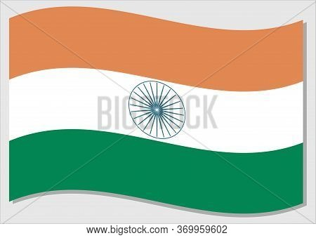 Waving Flag Of India Vector Graphic. Waving Indian Flag Illustration. India Country Flag Wavin In Th