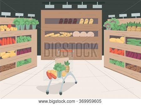Grocery Store Flat Color Vector Illustration. Variety Of Foods And Goods On Shelves In Shop. Trolley