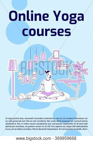 Online Yoga Courses Poster Flat Silhouette Vector Template. Internet Masterclass. Brochure, Booklet