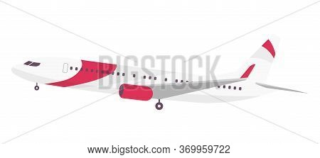 Airplane Cartoon Vector Illustration. Modern Passenger Aircraft Flat Color Object. Large Airline Com