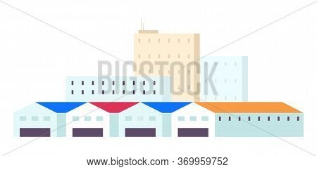 Warehouses Cartoon Vector Illustration. Industrial Storehouses Flat Color Objects. Multistorey Build
