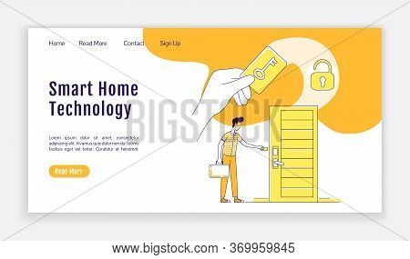 Smart Home Tech Landing Page Flat Silhouette Vector Template. Electronic Key Homepage Layout. Rfid C