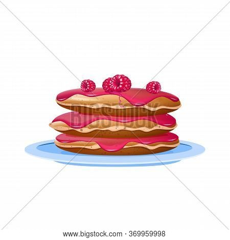 Pancakes With Raspberries And Jam Realistic Vector Illustration. Dessert On Blue Plate. Served Break