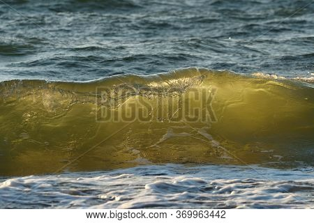 Sea Or Ocean, Waves Close-up View. Green - Yellow Waves Sea Water. Crystal Clear Water. Sea Wave Low