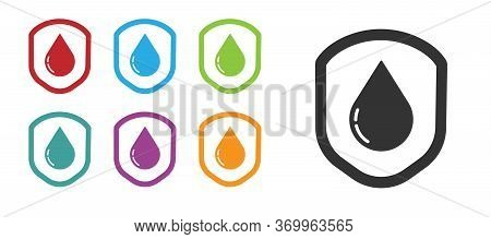 Black Waterproof Icon Isolated On White Background. Water Resistant Or Liquid Protection Concept. Se