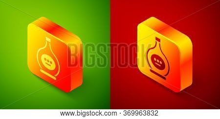Isometric Bottle Of Cognac Or Brandy Icon Isolated On Green And Red Background. Square Button. Vecto