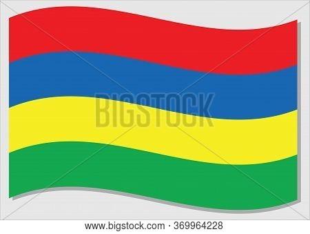 Waving Flag Of Mauritius Vector Graphic. Waving Mauritian Flag Illustration. Mauritius Country Flag