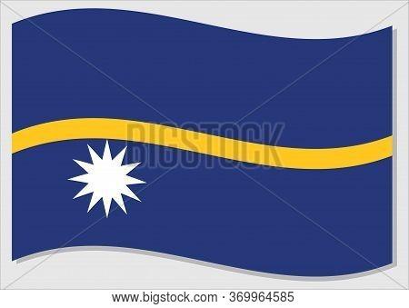 Waving Flag Of Nauru Vector Graphic. Waving Nauruan Flag Illustration. Nauru Country Flag Wavin In T