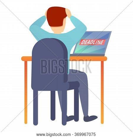 Worker Stressed Deadline Icon. Cartoon Of Worker Stressed Deadline Vector Icon For Web Design Isolat