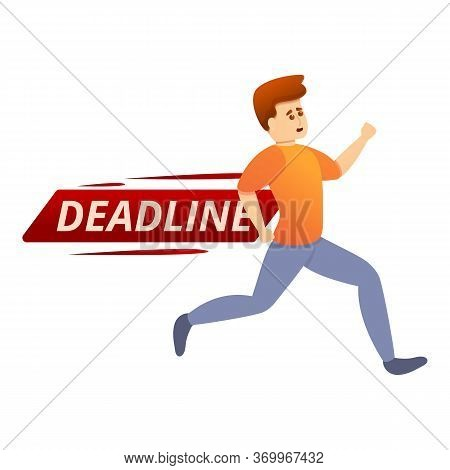 Worker On Deadline Icon. Cartoon Of Worker On Deadline Vector Icon For Web Design Isolated On White