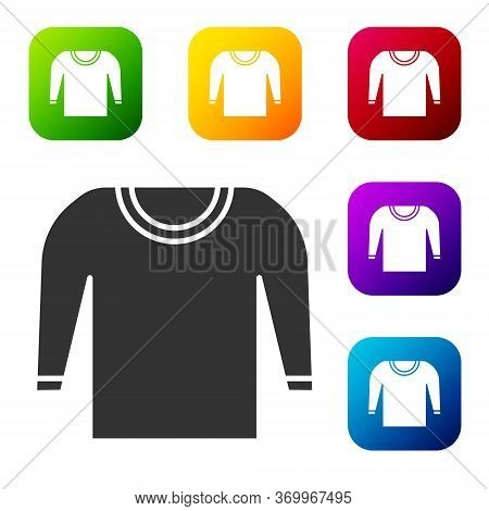 Black Sweater Icon Isolated On White Background. Pullover Icon. Set Icons In Color Square Buttons. V