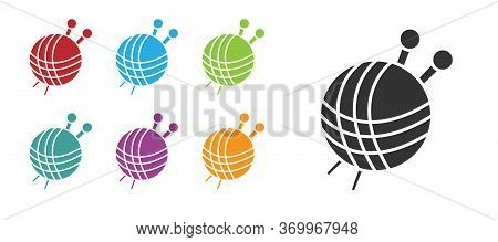 Black Yarn Ball With Knitting Needles Icon Isolated On White Background. Label For Hand Made, Knitti