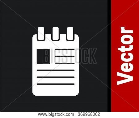 White Notebook Icon Isolated On Black Background. Spiral Notepad Icon. School Notebook. Writing Pad.