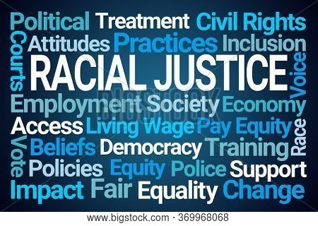 Racial Justice Word Cloud on Blue Background