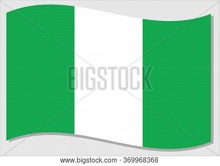 Waving Flag Of Nigeria Vector Graphic. Waving Nigerian Flag Illustration. Nigeria Country Flag Wavin