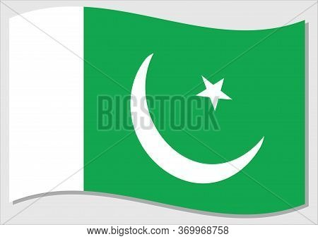 Waving Flag Of Pakistan Vector Graphic. Waving Pakistani Flag Illustration. Pakistan Country Flag Wa