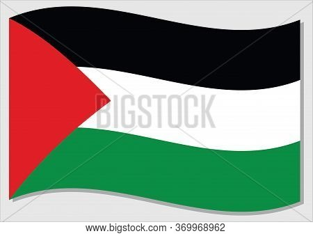 Waving Flag Of Palestine Vector Graphic. Waving Palestinian Flag Illustration. Palestine Country Fla