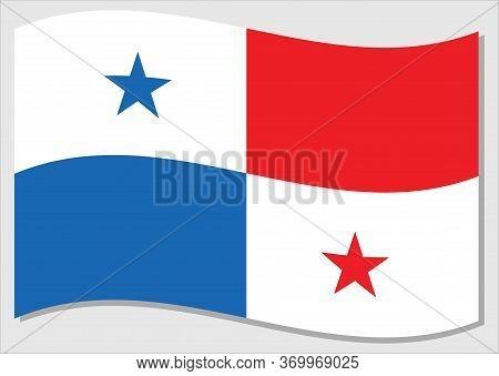 Waving Flag Of Panama Vector Graphic. Waving Panamanian Flag Illustration. Panama Country Flag Wavin