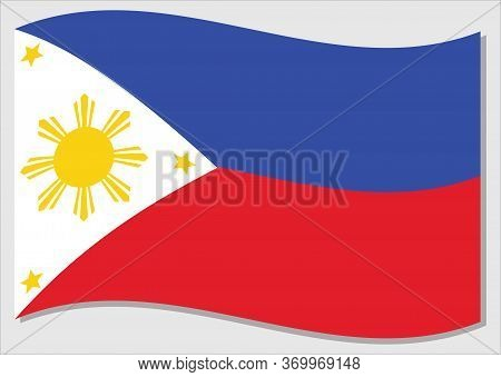 Waving Flag Of Philippines Vector Graphic. Waving Filipino Flag Illustration. Philippines Country Fl