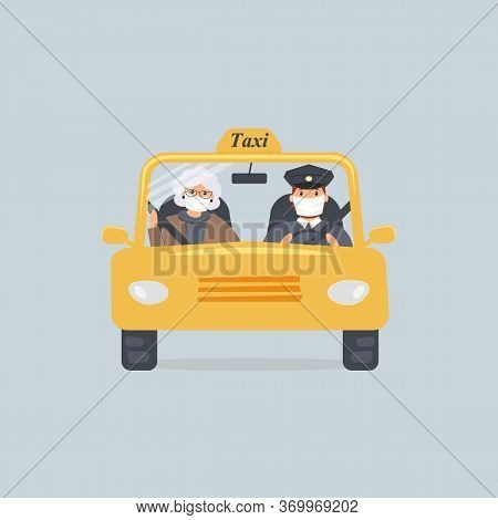 Taxi Driver And Elderly Woman In Protective Medical Masks Sitting In Front Seat In Cab Seen Through