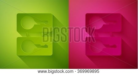 Paper Cut Metal Mold Plates For Casting Keys Icon Isolated On Green And Pink Background. Set For Mas