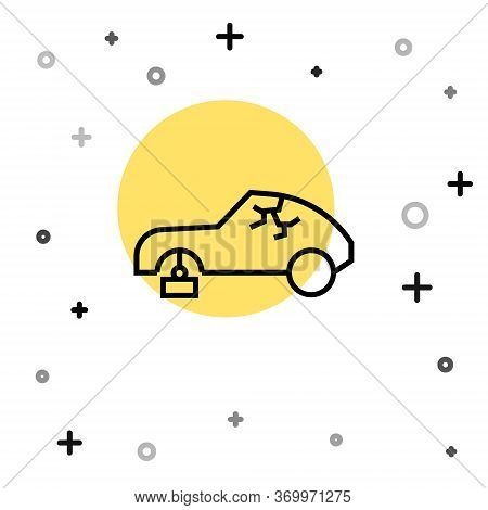 Black Line Broken Car Icon Isolated On White Background. Car Crush. Random Dynamic Shapes. Vector Il