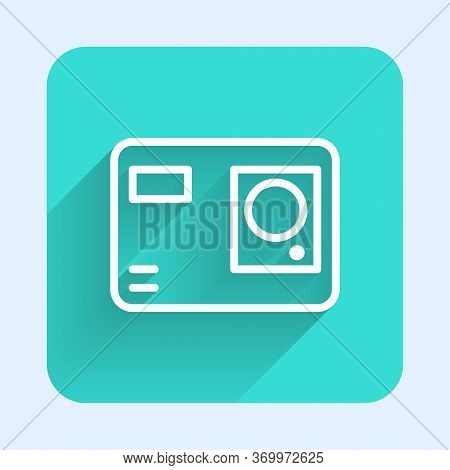 White Line Action Extreme Camera Icon Isolated With Long Shadow. Video Camera Equipment For Filming