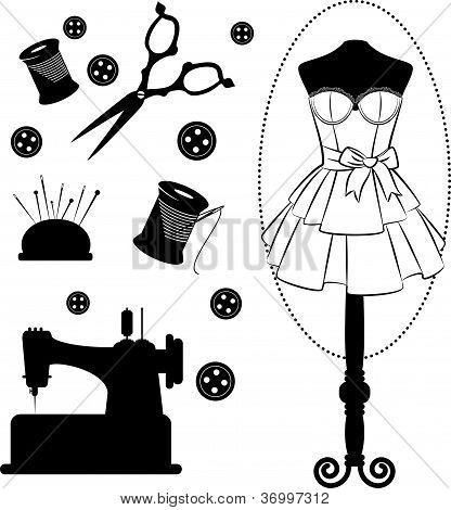 Vintage sewing related elements on the background. Vector set