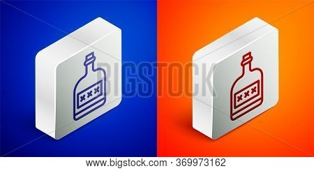 Isometric Line Alcohol Drink Rum Bottle Icon Isolated On Blue And Orange Background. Silver Square B