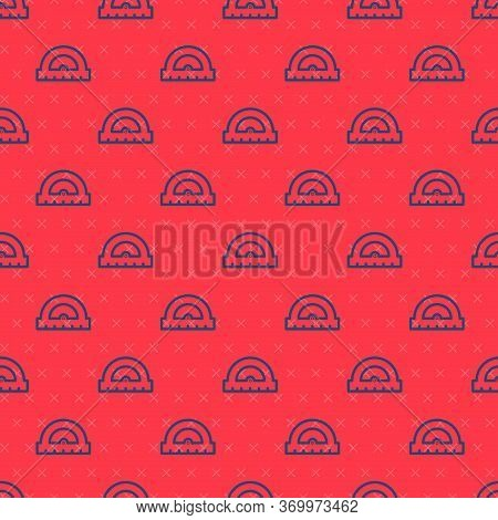 Blue Line Protractor Grid For Measuring Degrees Icon Isolated Seamless Pattern On Red Background. Ti