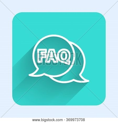 White Line Speech Bubble With Text Faq Information Icon Isolated With Long Shadow. Circle Button Wit