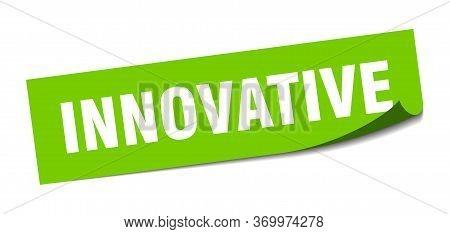 Innovative Sticker. Innovative Square Sign. Innovative. Peeler