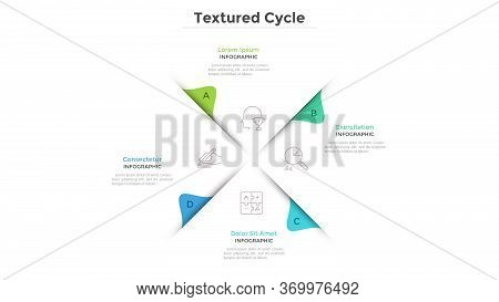 Circular Chart With 4 Paper White Sectors. Concept Of Cyclical Business Process With Four Stages Or